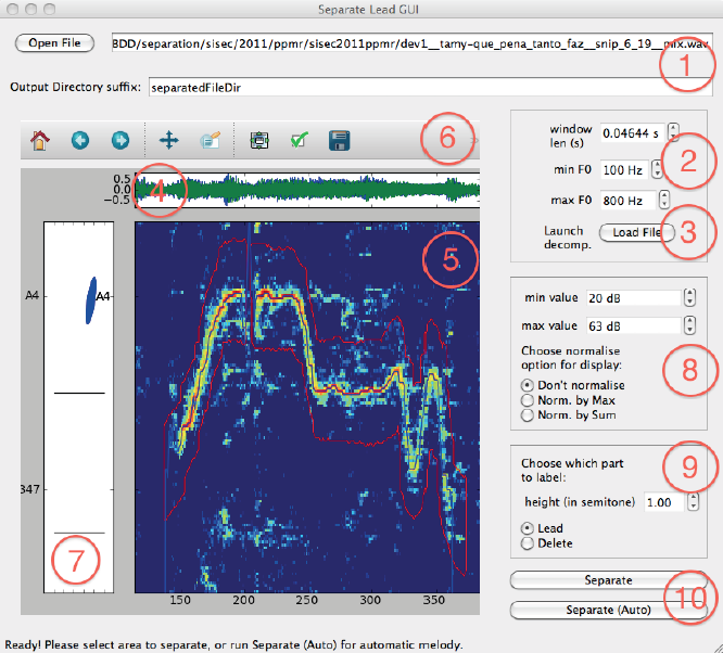 Fig: Snapshot of the GUI for user-guided main instrument separation, PyQt4 version.